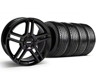 Staggered 2010 GT500 Style Black Wheel & Pirelli Tire Kit - 19x8.5/10 (15-18 All)