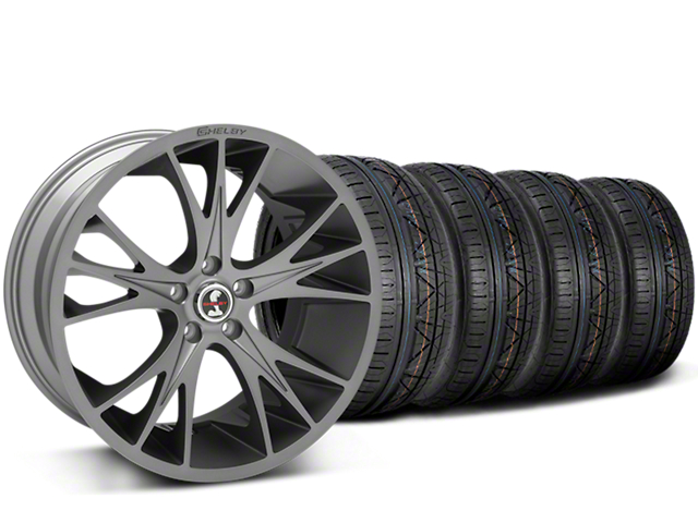 Staggered Shelby CS1 Gunmetal Wheel and NITTO INVO Tire Kit; 20x9/11 (15-20 GT, EcoBoost, V6)