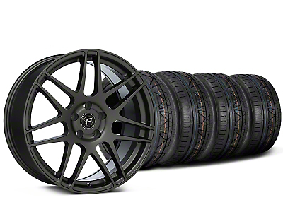 Staggered Forgestar F14 Monoblock Gunmetal Wheel & NITTO INVO Tire Kit - 20x9/11 (15-18 GT, EcoBoost, V6)