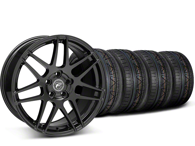Staggered Forgestar F14 Monoblock Piano Black Wheel & NITTO INVO Tire Kit - 20x9/11 (15-19 GT, EcoBoost, V6)