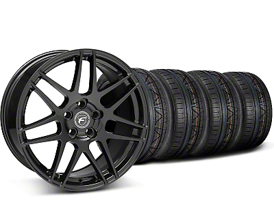 Staggered Forgestar F14 Monoblock Piano Black Wheel & NITTO INVO Tire Kit - 20x9/11 (15-18 All)