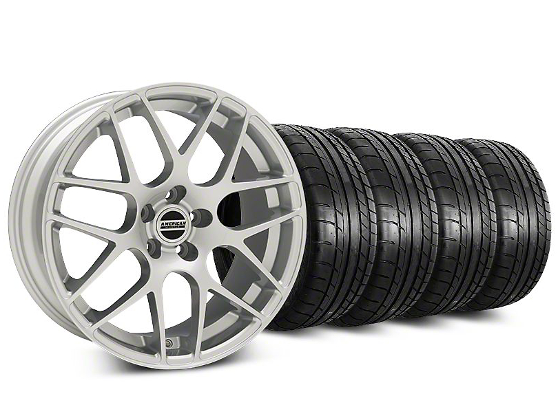 Staggered AMR Silver Wheel & Mickey Thompson Tire Kit - 20 in. - 2 Rear Options (15-19 GT, EcoBoost, V6)