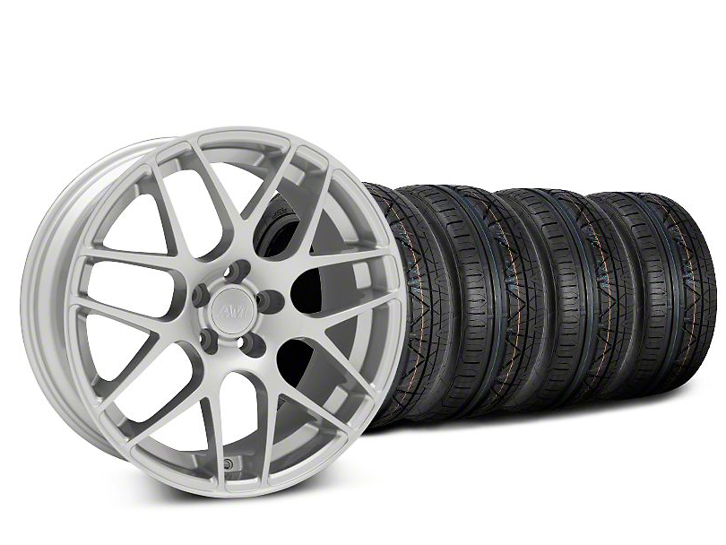Staggered AMR Silver Wheel and NITTO INVO Tire Kit; 20x8.5/10 (15-20 GT, EcoBoost, V6)