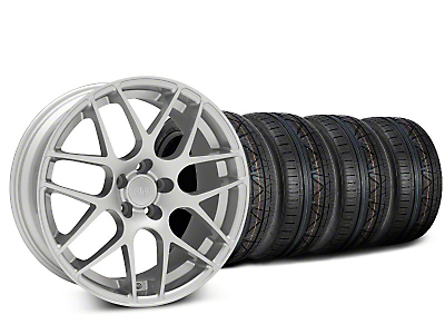 Staggered AMR Silver Wheel & NITTO INVO Tire Kit - 20x8.5/10 (15-18 GT, EcoBoost, V6)