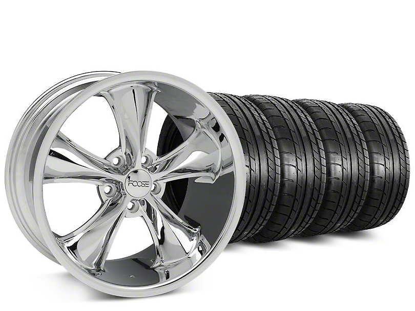 Staggered Foose Legend Chrome Wheel & Mickey Thompson Tire Kit - 20 in. - 2 Rear Options (15-17 V6, EcoBoost)