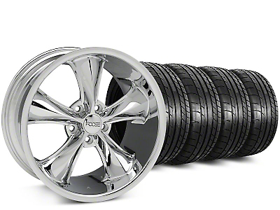 Staggered Foose Legend Chrome Wheel & Mickey Thompson Tire Kit - 20 in. - 2 Rear Options (15-18 EcoBoost, V6)