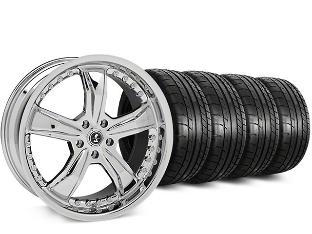 Staggered Shelby Razor Chrome Wheel & Mickey Thompson Tire Kit - 20 in. - 2 Rear Options (15-19 All)