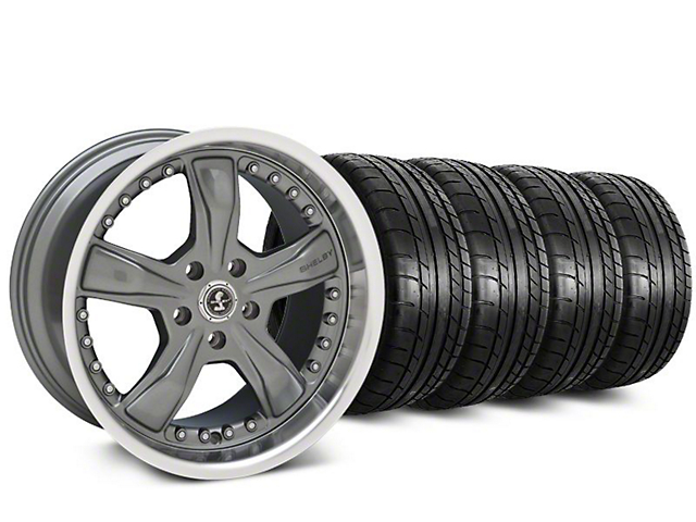 Staggered Shelby Razor Gunmetal Wheel & Mickey Thompson Tire Kit - 20 in. - 2 Rear Options (15-17 All)