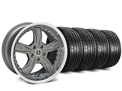 Staggered Shelby Razor Gunmetal Wheel & Mickey Thompson Tire Kit - 20 in. - 2 Rear Options (15-19 All)