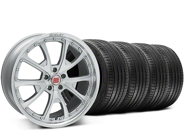 Staggered Shelby CS40 Silver Machined Wheel & Sumitomo Tire Kit - 20x9/10 (15-18 GT, EcoBoost, V6)