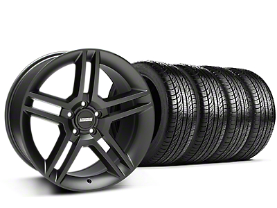 Staggered 2010 GT500 Style Matte Black Wheel & Pirelli Tire Kit - 19x8.5/10 (15-17 All)