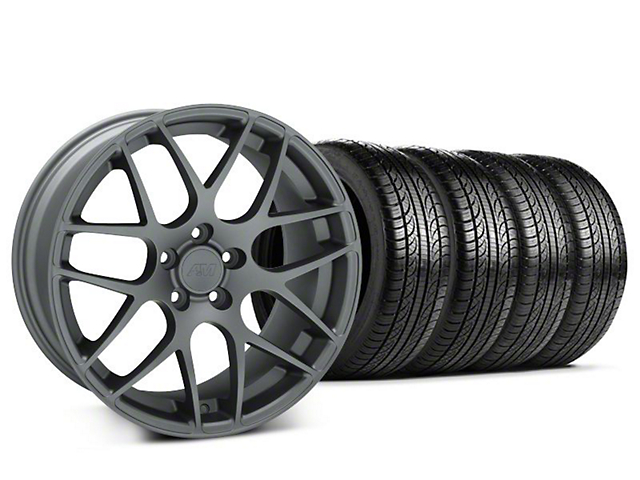 Staggered AMR Charcoal Wheel and Pirelli Tire Kit; 19x8.5/10 (15-20 GT, EcoBoost, V6)