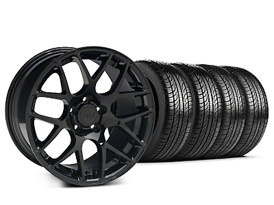 Staggered AMR Black Wheel & Pirelli Tire Kit - 19x8.5/10 (15-18 GT, EcoBoost, V6)