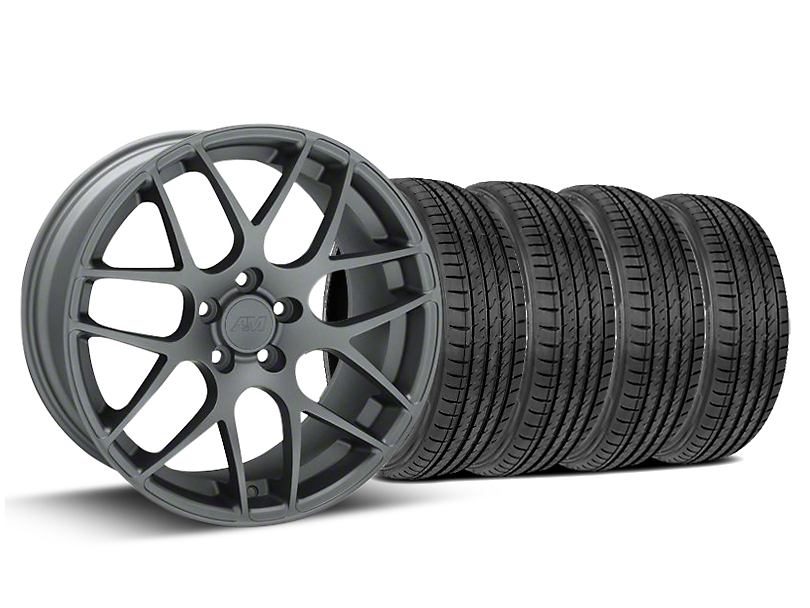 Staggered AMR Charcoal Wheel & Sumitomo Tire Kit - 19x8.5/10 (15-19 GT, EcoBoost, V6)