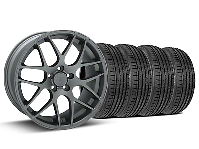 Staggered AMR Charcoal Wheel & Sumitomo Tire Kit - 19x8.5/10 (15-18 GT, EcoBoost, V6)