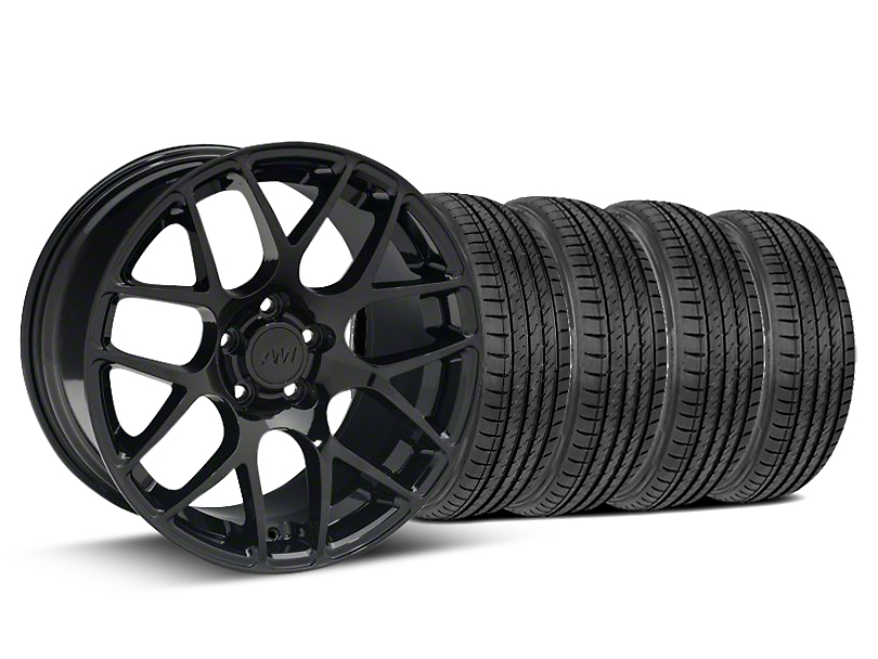 Staggered AMR Black Wheel & Sumitomo Tire Kit - 19x8.5/10 (15-18 GT, EcoBoost, V6)