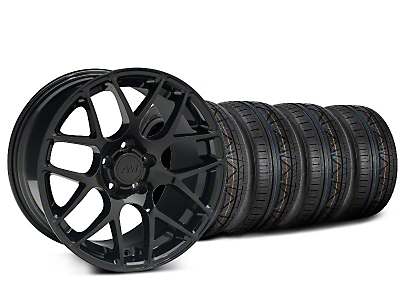 Staggered AMR Black Wheel & NITTO INVO Tire Kit - 19x8.5/10 (15-19 GT, EcoBoost, V6)