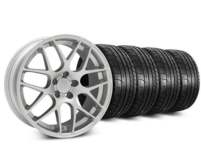 Staggered AMR Silver Wheel and Mickey Thompson Tire Kit; 19x8.5/10 (15-20 GT, EcoBoost, V6)