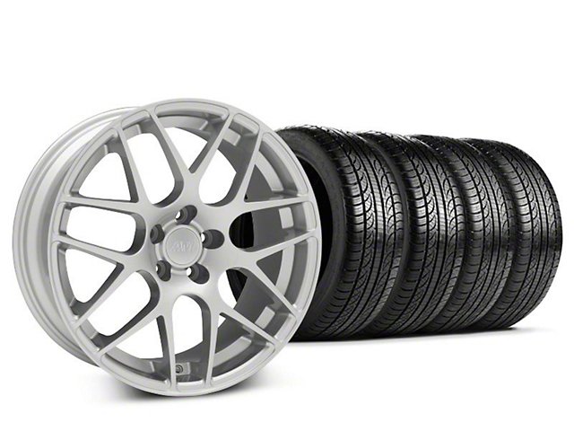 Staggered AMR Silver Wheel and Pirelli Tire Kit; 19x8.5/10 (15-20 GT, EcoBoost, V6)