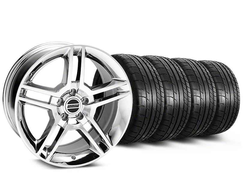 Staggered 2010 GT500 Style Chrome Wheel & Mickey Thompson Tire Kit - 19x8.5/10 (15-17 All)