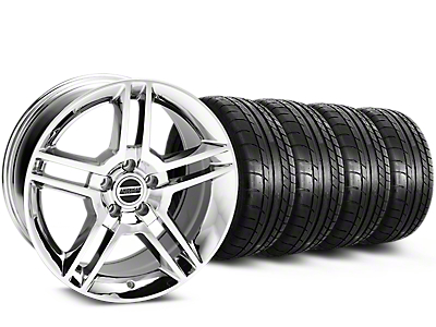 Staggered 2010 GT500 Style Chrome Wheel & Mickey Thompson Tire Kit - 19x8.5/10 (15-18 All)