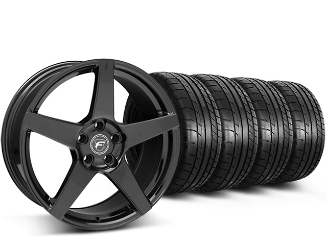 Staggered Forgestar CF5 Monoblock Gloss Black Wheel & Mickey Thompson Tire Kit - 19x9/10 (15-19 GT, EcoBoost, V6)
