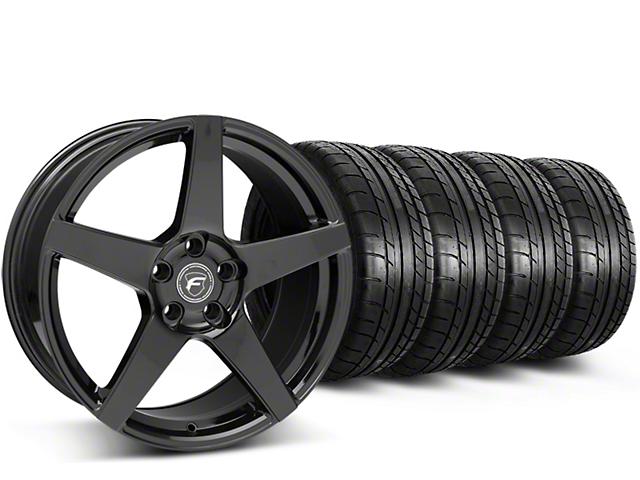 Staggered Forgestar CF5 Monoblock Gloss Black Wheel & Mickey Thompson Tire Kit - 19x9/10 (15-18 GT, EcoBoost, V6)