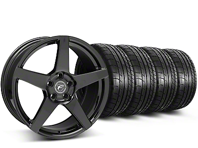 Staggered Forgestar CF5 Monoblock Gloss Black Wheel & Mickey Thompson Tire Kit - 19x9/10 (15-18 All)