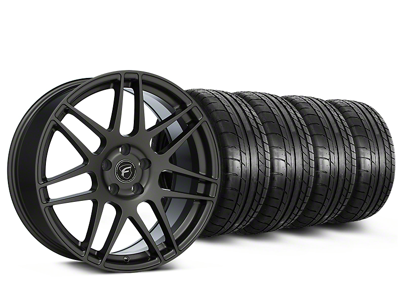 Staggered Forgestar F14 Monoblock Gunmetal Wheel & Mickey Thompson Tire Kit - 19x9/10 (15-19 All)