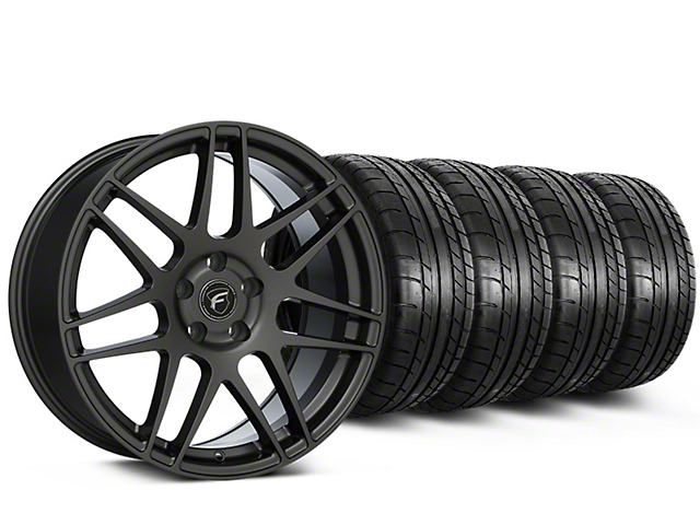 Staggered Forgestar F14 Monoblock Gunmetal Wheel & Mickey Thompson Tire Kit - 19x9/10 (15-18 All)