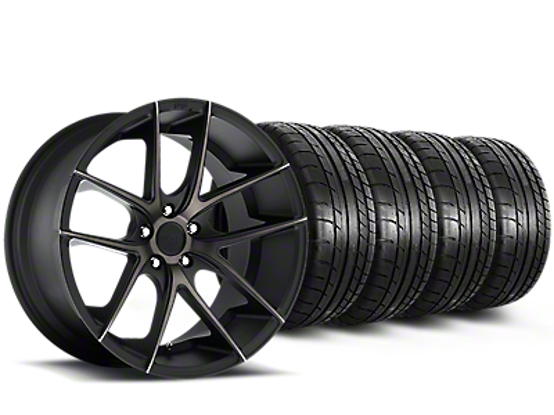Staggered Niche Targa Black Wheel & Mickey Thompson Tire Kit - 19x8.5/9.5 (15-17 All)