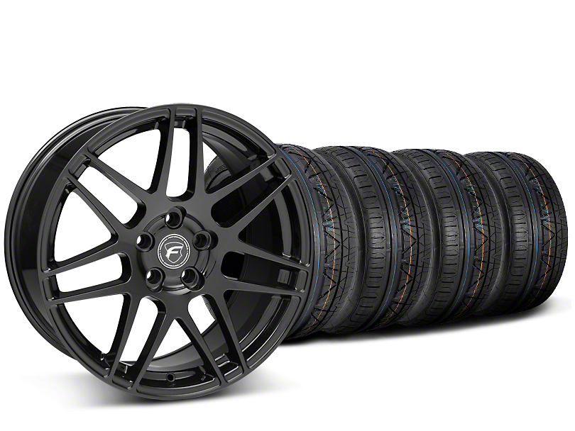 Forgestar F14 Monoblock Piano Black Wheel & NITTO INVO Tire Kit - 19x9 (15-18 GT, EcoBoost, V6)