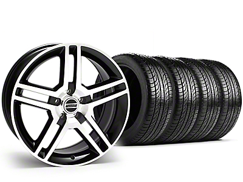2010 GT500 Style Black Machined Wheel & Pirelli Tire Kit - 19x8.5 (15-18 All)