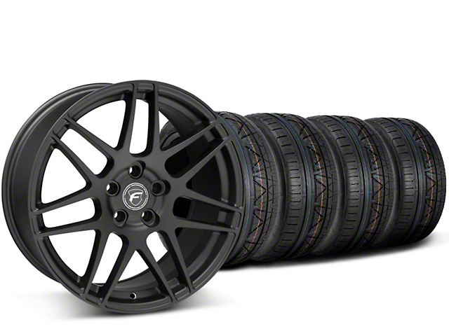 Staggered Forgestar F14 Monoblock Matte Black Wheel & NITTO INVO Tire Kit - 19x9/11 (15-19 GT, EcoBoost, V6)