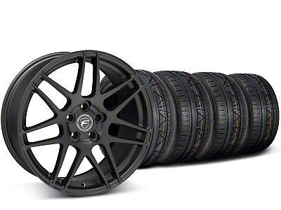 Staggered Forgestar F14 Monoblock Matte Black Wheel & NITTO INVO Tire Kit - 19x9/11 (15-18 GT, EcoBoost, V6)