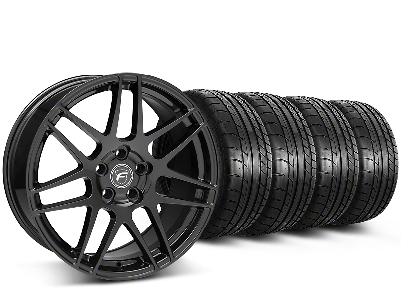 Staggered Forgestar F14 Piano Black Wheel & Mickey Thompson Tire Kit - 19x9/10 (15-17 All)