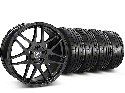 Staggered Forgestar F14 Piano Black Wheel & Mickey Thompson Tire Kit - 19x9/10 (15-18 GT, EcoBoost, V6)