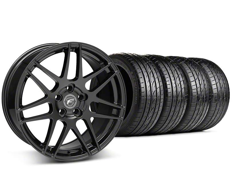 Staggered Forgestar F14 Piano Black Wheel & Sumitomo Tire Kit - 19x9/10 (15-19 GT, EcoBoost, V6)