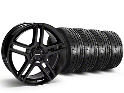 Staggered 2010 GT500 Style Black Wheel & Mickey Thompson Tire Kit - 19x8.5/10 (15-19 All)