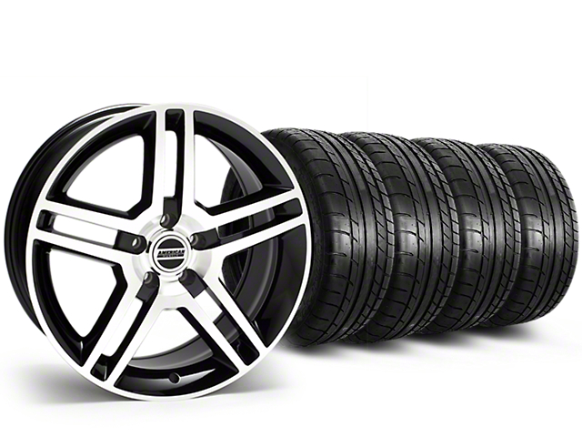Staggered 2010 GT500 Style Black Machined Wheel & Mickey Thompson Tire Kit - 19x8.5/10 (15-17 All)