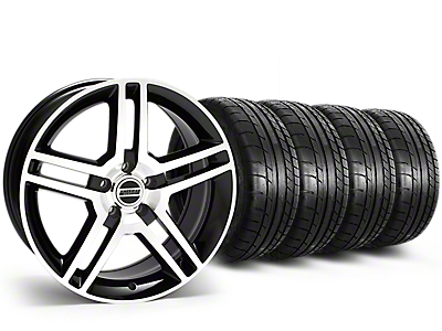 Staggered 2010 GT500 Style Black Machined Wheel & Mickey Thompson Tire Kit - 19x8.5/10 (15-18 All)