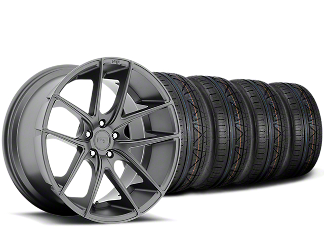 Staggered Niche Targa Anthracite Wheel & NITTO INVO Tire Kit - 19x8.50/9.5 (15-17 All)