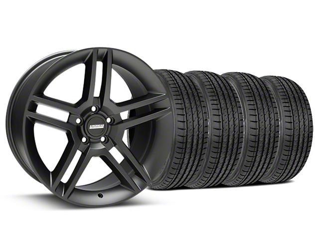 2010 GT500 Style Matte Black Wheel & Sumitomo Maximum Performance HTR Z5 Tire Kit - 19x8.5 (15-20 GT, EcoBoost, V6)
