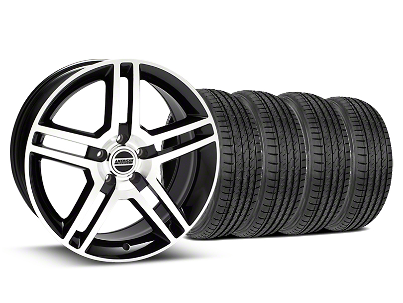 2010 GT500 Style Black Machined Wheel & Sumitomo Tire Kit - 19x8.5 (15-18 GT, EcoBoost, V6)