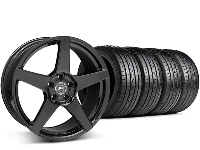 Staggered Forgestar CF5 Piano Black Wheel & Sumitomo Tire Kit - 19x9/10 (15-18 All)