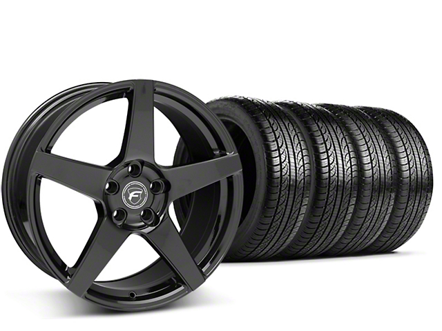 Staggered Forgestar CF5 Piano Black Wheel & Pirelli Tire Kit - 19x9/10 (15-18 GT, EcoBoost, V6)