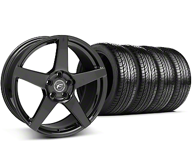 Staggered Forgestar CF5 Piano Black Wheel & Pirelli Tire Kit - 19x9/10 (15-17 All)