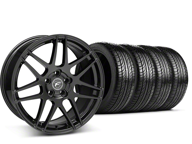 Staggered Forgestar F14 Piano Black Wheel & Pirelli Tire Kit - 19x9/10 (15-18 GT, EcoBoost, V6)