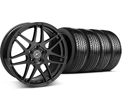 Staggered Forgestar F14 Piano Black Wheel & Pirelli Tire Kit - 19x9/10 (15-17 All)