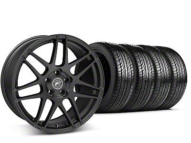 Forgestar F14 Monoblock Matte Black Wheel & Pirelli Tire Kit - 19x9 (15-19 GT, EcoBoost, V6)